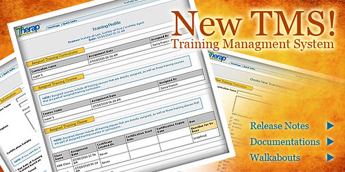 The splash announcing the update to the Training Management System of Therap, October 2010