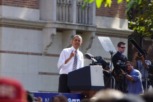 President Barack Obama with Senator Barbara Boxer at USC, October 22 2010