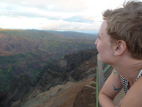 Erica looks out at Waimea Canyon