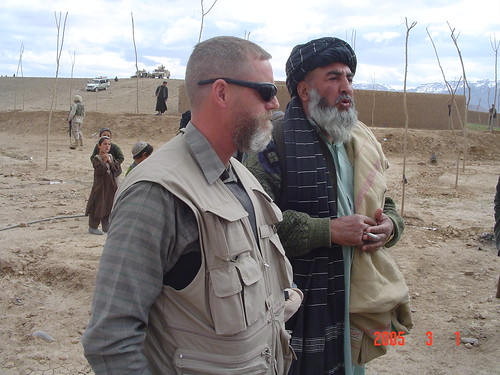 NRCS employee Jeff Sanders meets with a village elder of the Deh Yahke in Uruzgan Province in Afghanistan.