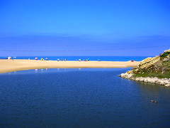 Beach or River? (Sandra_R) Tags: ocean blue sea summer green beach portugal nature water yellow river landscape outdoors photography reflex sand marine rocks exterior natural background ducks simplicity choice biology stillness naturalworld clearsky clearwater portonovo vimeiro anawesomeshot colorphotoaward diamondclassphotographer flickrdiamond rioalcabrichel