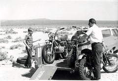 Unloading for my first ride on the Honda SL90 - El Mirage Dry Lake, California 1969 (bcgreeneiv) Tags: california blackandwhite bw 1969 honda geotagged buick desert nostalgia motorbike mojave triumph uhaul elmirage drylake mororcycle greeves sl90 10million 10millionphotos billgreene williamgreene