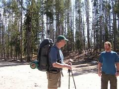 Road Dog and Hiker Jim comparing notes at Pettit Lake trailhead