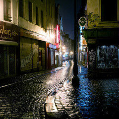 Brussels (Peter Gutierrez) Tags: photo europe europa european belgium belgian belgie belgique brussels bruxelles brussel city centre center centrum urban street streets downtown building buildings night time nighttime evening dark square format tlr twin lens reflex mamiya medium c22 peter gutierrez petergutierrez supershot bestthebest aplusphoto artlibre colourartaward nocturne nocturnal nacht notte noche nuit sidewalk pavement public film photograph photography