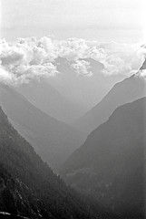 A Look Towards Eternity, North Cascades, Washington State (Gerald L. Campbell) Tags: blackandwhite bw mountains blackwhite valley ilfordxp2 washingtonstate northcascades olympusom2n scenicphotography 50mmzuikolens minoltamultiproscanner