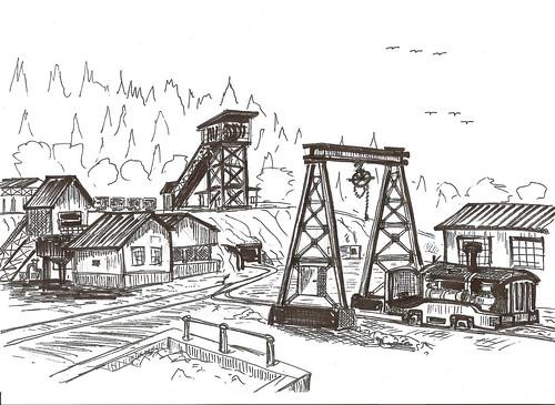 Minas de Novales - Cantabria (Dibujo de Julio Herrero)