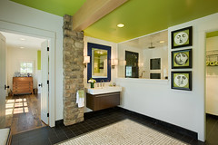 Modern Meets Country - Master Bathroom (Riverbend Timber Framing) Tags: homes usa house canada green home beautiful architecture farmhouse america design us cabin exterior unitedstates timber cottage frame northamerica oh homestead framing custom hybrid luxury sustainable sustainability riverbend cabins kenton timberframe timberframing timberframehomedesign customhomedesign timberframeplans timberframeexterior