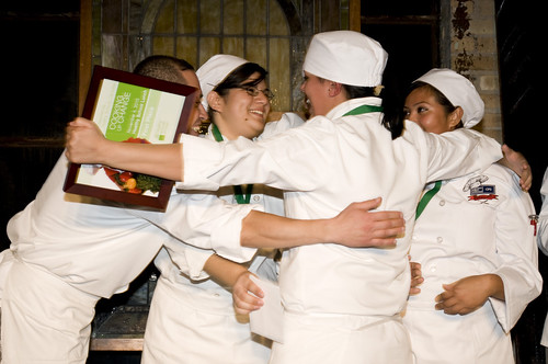 Students from Chicago's Richards Career Academy celebrate their first place finish at the November 4th Cooking Up Change event.
