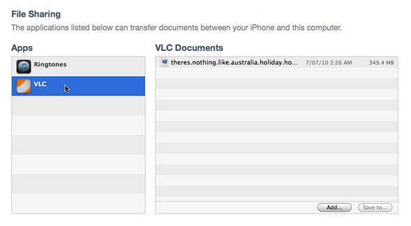 VLC File Sharing panel