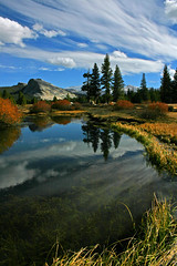 Great place to reflect (Beefus) Tags: california autumn reflection fall clouds river yosemite yosemitenationalpark tuolumne tuolumnemeadows naturescenes lembertdome tuolumneriver