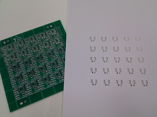 "Test to make a solder stencil using the ""Craft ROBO"" cutting plotter (also sold as ""Silhouette""). The paper is just for testing."
