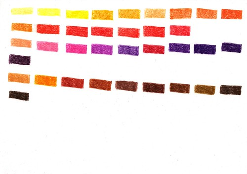 Sample sheet straight up yellow, orange, red, purple and brown on white