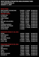 Rock The Bells Festival 2007 - San Bernardino Schedule Part 1
