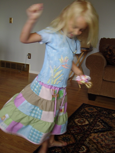 Tiered patchwork skirt in use