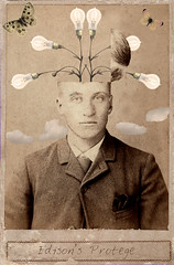Edison's Protege (annabelletexter) Tags: lightbulb clouds vintage butterfly photo mixed media cabinet card edison photochopsuey