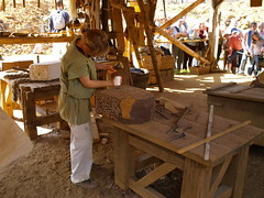 Guedelon.Stone cutter at work. (abac077) Tags: france building castle history architecture chateau fortress bourgogne forteresse middleage moyenage guedelon puisaye