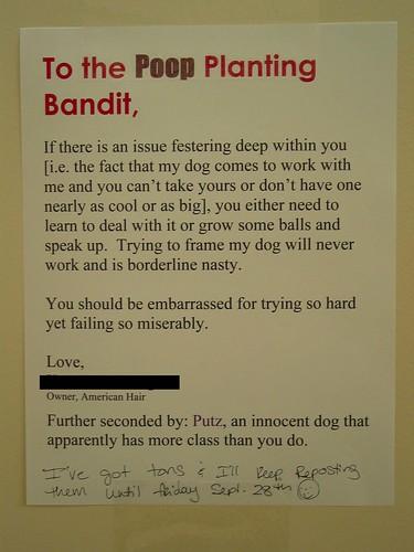 To the Poop Planting Bandit