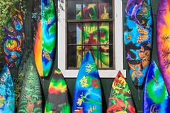 Surfboard Art (ustein) Tags: sunset art clouds painting colorful shapes butterflies maui lizard palmtrees surfboard hdr photomatix steinmueller