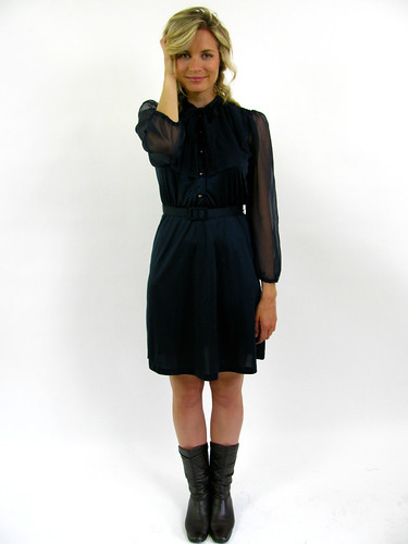 VINTAGE 70s PLEATED COLLAR RUFFLE DRESS