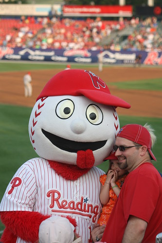 Reading Phillies Mascot Screwball with Fans