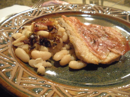 Pork saltimbocca with cannellini beans