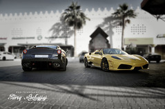 Ferrari GTO 599 2011 VS Ferrari 16M Scuderia Spider 2010 (Tareq Abuhajjaj | Photography & Design) Tags: show roof light italy cars car sport yellow night speed dark photography lights design spider photo high nice nikon flickr italia power top flash wheels fast gear ferrari saudi arabia gto vs manual carbon rims riyadh scuderia v8  ggg 2010 v12 ksa  saud  070 599  2011  16m         d700        tareqdesigncom tareqmoon tareqdesign  abuhajjaj