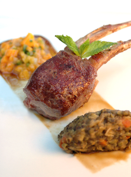 New Zealand Lamb Ribs with Lentil Quenelle and Mango Relish