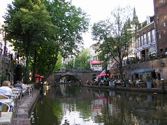 Oudegracht or Old Canal in the center of Utrecht