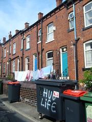 Hug Life (APM84) Tags: life park houses england urban graffiti hug britain yorkshire terraces leeds line bin hyde housing washing bins thug terraced