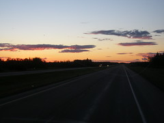 Sunrise while eastbound on Highway 16 between Edson, Alberta (jimbob_malone) Tags: alberta 2007 highway16 greyhoundbus