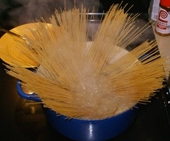 8.)  meanwhile, add WW angel hair pasta to boiling water