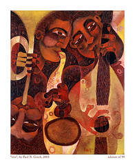 Trio (Paul N Grech) Tags: music art modern painting energy bass contemporary modernart trumpet jazz blues musical kinetic instrument oil africanamerican trio saxophone cubist vibe cubism paulgrech