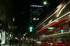 Green Means GO! (jessnphoto) Tags: uk longexposure england trafficlights bus london night canon dark lights movement unitedkingdom transport fast quick oxfordstreet tottenhamcourtroad centrepoint londonbuses londonist earthnight canon400d