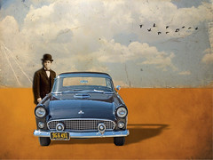 ~ Used Salesman (of Cars) ~ (Denise Purrington {{say hello to my Little Bears:)) Tags: old sky man car birds collage clouds digital vintage drive automobile driving desert magritte textures ren textured antiqu
