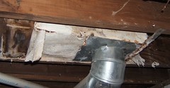 Asbestos Paper Duct Insulation in House (Asbestorama) Tags: house home apartment inspection basement insulation residential survey dwelling asbestos