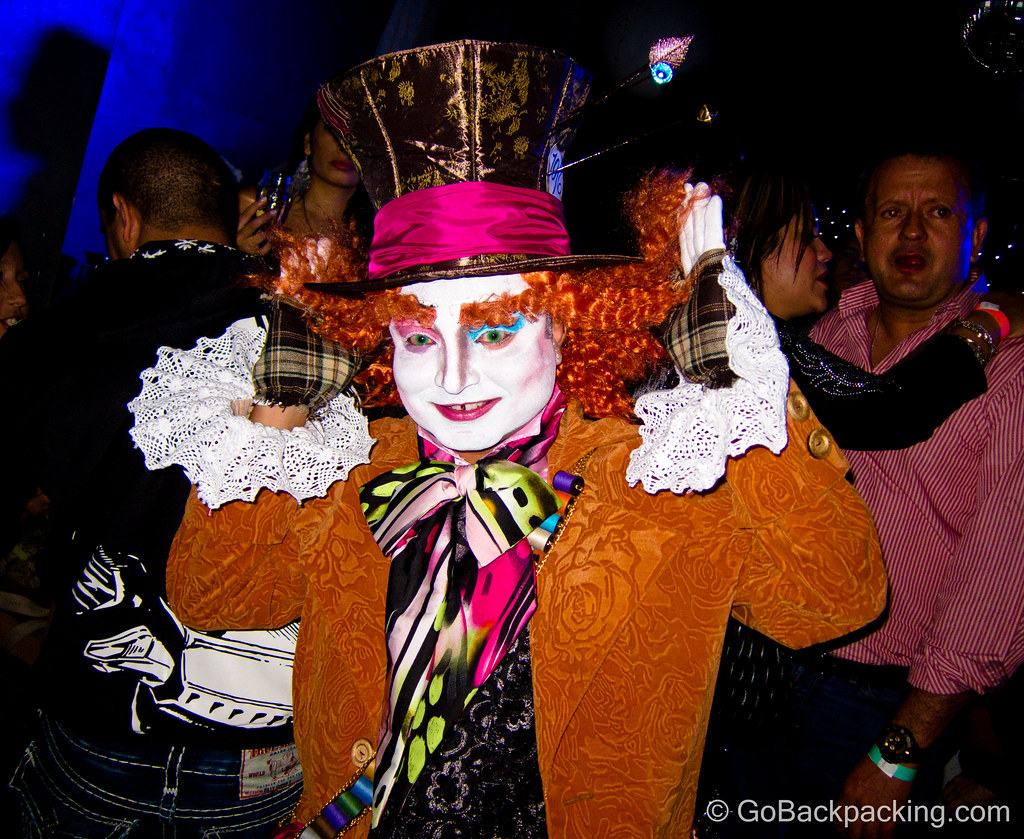 This Mad Hatter was the best costume at B-Lounge, a popular spot on Wednesday nights in Medellin.