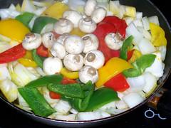 Who needs a recipe book ? (billnbenj) Tags: red food green mushroom yellow fruit pepper cumbria pan onion capsicum barrow fryingpan masterchef buttonmushroom canolaoil