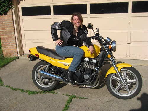 Anne on Dave's Nighthawk 750