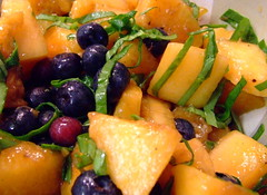 Grilled cantaloupe with chicory and blueberry vinaigrette