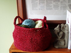 red leather basket