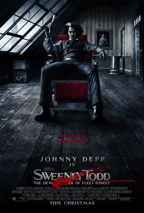 Poster Sweeney Todd Tim Burton Johnny Depp