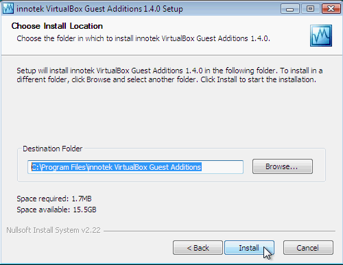 Fig. 5 - installazione VirtualBox Guest Additions in Windows Vista - scelta cartella installazione