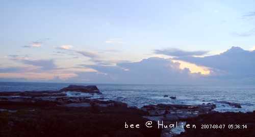 花蓮石梯坪海邊的日出---颱風來前的寧靜
