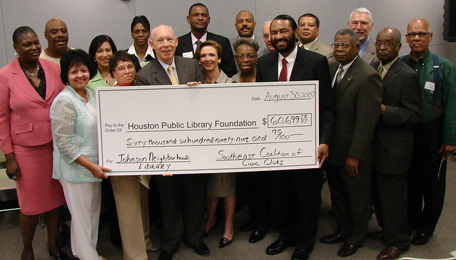 Southeast Coalition of Civic Clubs Donates 60000 to Benefit the Houston Public Librarys Johnson Neighborhood Library by Houston Public Library