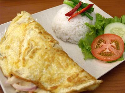 Rice with Cheese Seafood Omelette