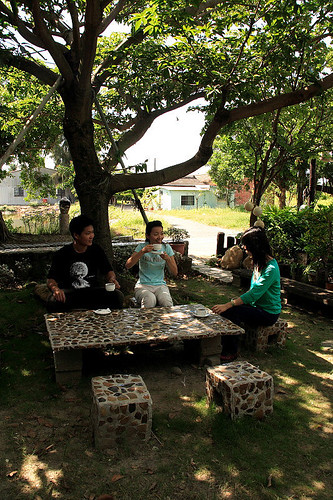 對坐園中閒喝茶