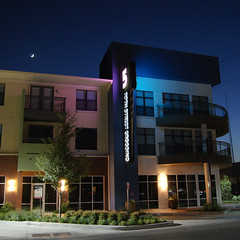 Front Corner at Night (Mondo Tiki Man) Tags: street urban color architecture dallas downtown texas crossing landscaping rail garland transit housing suburb dfw 5th tod streetscape dart stucco infill redevelopment mixeduse multifamily grayfield