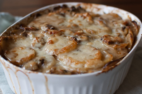 Pink Parsley: Potato Gratin with Mushrooms and Gruyere