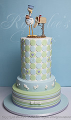 Rac's Baby Shower Cake (Rouvelee's Creations) Tags: baby love cake heart stripes polymerclay babyshower stork chocolatemudcake rouvelee