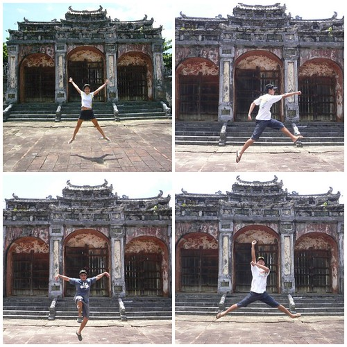 jumping at minh mang tomb hue